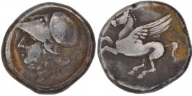 Corinthia, Corinth. Circa 285-146 BC. AR Stater (19mm, 8.49 g, 3h). Pegasos flying left / Helmeted head of Athena left; ax to right. Ravel Period VI, ...
