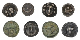 Lot of 3 AR and 1 AE Greek. Ancient Greece. Pisidia, Selge, obol, c. 300-190 BC, SNG von Aulock 5279 Pisidia, Selge, obol, c. 350-300 BC, SNG von Aulo...