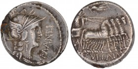 L. Sulla and L. Manlius Torquatus. 82 BC. AR Denarius (15mm, 4.00g, 9h). Military mint moving with Sulla. Helmeted head of Roma right / Sulla driving ...