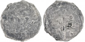 Belgium. Lower Lorraine. Gozelo I 1023-1044 and Konrad II 1024-1027(?). AR Denar (19mm, 1.07g). Unknown mint (Herstal?).[__]ORVE+[__], crowned head le...