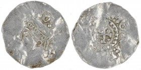 Belgium. Lower Lorraine. Otto III 983-1002. AR Denar (19mm, 1.36g). Visé mint. [OTTOGRA]DIR[E], diademed bust left / [+VIOZAZ]MONETA, cross pattee in ...