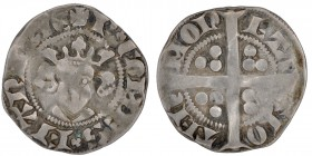 Belgium. Flandern. Robert de Bethune (1305-22). AR Sterling (17mm, 1.23g). Aalst mint. Bust facing / Long cross, in each triple pellets. Bourdear 2211...