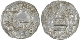 Czech Republic. Bohemia. Boleslav II. 967-999. AR Denar (20mm, 1.31g). Prague mint. +BOLEZLAV, sword, cross below / + RVCLTOS (?), temple, across CCC....