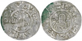 Czech Republic. Bohemia. Boleslav II. 967-999. AR Denar (21mm, 1.20g). Prague mint. +BOLEZLAVSXDV, hand of providence descending from clouds curves on...
