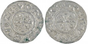 Czech Republic. Boleslav III 999-1002/3. AR Denar (17mm, 0.76g). Prague mint. +BOLELAVSDV, cross with small crosses in each four angles / +PRAVTMEZTAE...