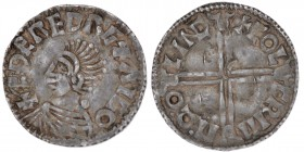 England. Aethelred II. 978-1016. AR Penny  (20mm, 1.74g, 4h). Long Cross type (BMC IVa, Hild. D). Lincoln mint; moneyer Kolgrimr. +EDERED RE+ AIGO, ba...