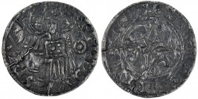 Denmark. Svend Estridsen. 1047-1075. AR Penning (17mm, 0.94 g, 6h). Lund mint; moneyer Svartbrand. +MAGNΛS REX, Christ standing facing with right hand...
