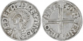 England. Aethelred II. 978-1016. AR Penny (19mm, 1.45g, 12h). Long Cross type (BMC IVa, Hild. D). Lincoln mint; moneyer Drengr. Struck circa 997-1003....