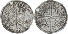 England. Cnut the Great, 1016-1035. AR penny (17mm, 1.40g, 4h). Quatrefoil type (BMC viii, Hild. E), London mint; moneyer Godhere. Struck circa 1016-1...