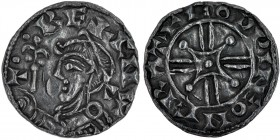 England. Harthacnut. 1035-1042. AR Penny (16mm, 1.20 g, 7h). Arm and Scepter type, in the name of Cnut (BMC xvii, Hild. I). Cambridge mint; moneyer Go...
