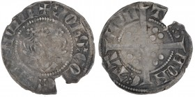 France. Hainaut County, John of Avesnes (1280-1304). AR Sterling (19mm, 0.95g). Mons mint. Struck circa 1290-1295. Bust facing / Long cross, in each t...
