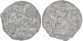 Germany. Andernach. Pilgrim and Konrad II 1027-1036. AR Denar (19mm, 0.96g). Andernach mint. Text in three lines / church facade with cross in center....