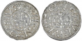 Germany. Duchy of Bavaria. Heinrich IV (II) 1002-1009. AR Denar (20mm, 1.25g). Regensburg mint; moneyer ⵎcco. XHCNTRCEIVလ+, cross with three pellets i...