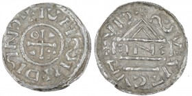 Germany. Duchy of Bavaria. Heinrich IV (II) 1002-1009. AR Denar (20mm, 1.03g). Regensburg mint; moneyer ІꓛNߏ. +ICHSIIDMNߏ, cross with three pellets in...