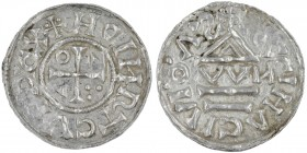 Germany. Duchy of Bavaria. Heinrich IV (II) 1002-1009. AR Denar (21mm, 1.63g). Regensburg mint; moneyer OWИ. +HDINRTCVSPCX, cross with three pellets i...