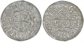 Germany. Duchy of Bavaria. Heinrich IV (II) 1002-1009. AR Denar (20mm, 1.01g). Nabburg mint; moneyer NꓛII. XHCCRTCVHS+, cross with three pellets in on...