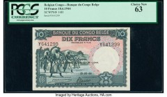 Belgian Congo Banque du Congo Belge 10 Francs 10.6.1944 Pick 14D PCGS Choice New 63.   HID09801242017  © 2020 Heritage Auctions | All Rights Reserved