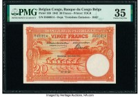 Belgian Congo Banque du Congo Belge 20 Francs 10.12.1942 Pick 15B PMG Choice Very Fine 35.   HID09801242017  © 2020 Heritage Auctions | All Rights Res...