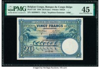 Belgian Congo Banque du Congo Belge 20 Francs 10.8.1948 Pick 15F PMG Choice Extremely Fine 45. Tear.  HID09801242017  © 2020 Heritage Auctions | All R...