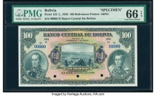 Bolivia Banco Central 100 Bolivianos 20.7.1928 Pick 125s Specimen PMG Gem Uncirculated 66 EPQ. Three POCs.  HID09801242017  © 2020 Heritage Auctions |...