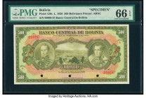 Bolivia Banco Central 500 Bolivianos 20.7.1928 Pick 126s Specimen PMG Gem Uncirculated 66 EPQ. Three POCs.  HID09801242017  © 2020 Heritage Auctions |...