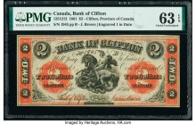 Canada Clifton, PC- Bank of Clifton $2 1.9.1861 Pick S1664b Ch.# 125-12-12 PMG Choice Uncirculated 63 EPQ.   HID09801242017  © 2020 Heritage Auctions ...