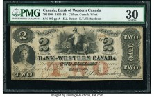 Canada Clifton, CW- Bank of Western Canada $2 20.9.1859 Pick S2039 Ch.# 795-10-08 PMG Very Fine 30. Corner tip missing.  HID09801242017  © 2020 Herita...