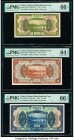 China Chinese Italian Banking Corporation 1; 5; 10 Yuan 1921 Pick S253r; S254r; S255r Three Remainders PMG Gem Uncirculated 66 EPQ (2); Choice Uncircu...