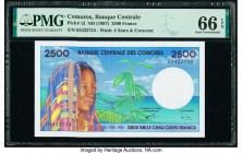 Comoros Banque Centrale Des Comores 2500 Francs ND (1997) Pick 13 PMG Gem Uncirculated 66 EPQ.   HID09801242017  © 2020 Heritage Auctions | All Rights...