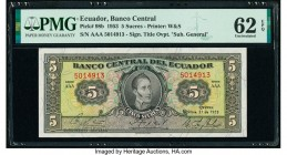 Ecuador Banco Central del Ecuador 5 Sucres 1953 Pick 98b PMG Uncirculated 62 EPQ. As made wrinkles.  HID09801242017  © 2020 Heritage Auctions | All Ri...