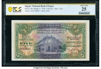 Egypt National Bank of Egypt 5 Pounds 16.10.1936 Pick 19b PCGS Very Fine 25. Writing.  HID09801242017  © 2020 Heritage Auctions | All Rights Reserved