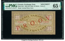 Estonia Exchange Note 25 Marka 1922 Pick 54cs Specimen PMG Gem Uncirculated 65 EPQ. Red overprints.  HID09801242017  © 2020 Heritage Auctions | All Ri...
