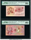 Estonia Bank of Estonia 5 Krooni 1929 Pick 62s1; 62s2 Front and Back Specimen PMG Gem Uncirculated 66 EPQ (2). Red overprints; roulette number punch. ...
