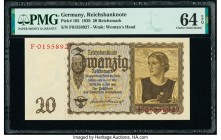Germany German Gold Discount Bank 20 Reichsmark 16.6.1939 Pick 185 PMG Choice Uncirculated 64 EPQ.   HID09801242017  © 2020 Heritage Auctions | All Ri...