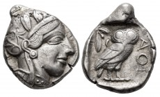 Attica. Tetradrachm. 454-404 BC. Athens. (Gc-2526). (Sng Cop-31). Anv.: Head of Athena right. Rev.: Owl standing to right with head facing, olive spri...