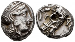Attica. Athens. Tetradrachm. 350-294 BC. (Sng Cop-64). (Kroll-15). Anv.: Helmeted head of Athena right. Rev.: Owl standing right, head facing; olive s...