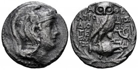 Attica. Athens. New Style Tetradrachm. 152-151 BC. Aphrodisi-, Dioge- and Athe- magistrates. (Cf. Thompson-546). Anv.: Helmeted head of Athena rigth. ...