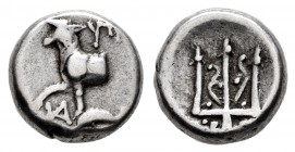 Thrace. Byzantion. Hemidrachm. 387-340 BC. (SNG BM Black Sea-12). (Schönert-Geiss-750-850). (Sng Cop-484-5). Anv.: Bull standing to left atop dolphin;...