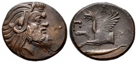 Cimmerian Bosporos. Pantikapaion. AE 21. 325-310 BC. (SNG Stancomb-542). (MacDonald-69). (Sng Black Sea-869/71). Anv.: Head of bearded satyr right. Re...