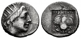 Caria. Rhodes. Drachm. 88-84 BC. Lysimachos magistrate. (Jenkins-Grupo E). (Hgc-6, 1461). Anv.: Radiate head of Helios right. Rev.: Rose with bud to r...