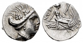 Euboia. Histiaia. Tetrobol. 340-330 BC. (Gc-2495). Anv.: Vine-wreathed head of nymph Histiaia to right. Rev.: Nymph seated right on stern of galley. A...