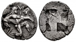 Thrace Islands. Thasos. Stater. 500-480 BC. (Sng Cop-1010-1011). (Hgc-6, 331). Anv.: Naked satyr in a kneeling position and running to the right, taki...