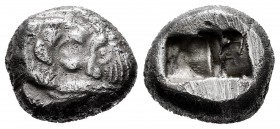 Lydia. Kroisos. 1/2 stater. 545-520 BC. Sardes. (SNG Kayhan-1024-1026). (Sunrise-11). Anv.: Confronted foreparts of lion right and bull left. Rev.: Tw...