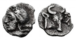 Mysia. Kyzikos. Hemiobol. 525-475 BC. (Fritze-20). (SNG von Aulock-7336). Anv.: Youthful, head of Attis left, wearing Phrygian cap; below, tunny-fish ...