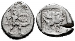 Pamphylia. Aspendos. Stater. 465-430 BC. (Sng France-13). Anv.: Hoplite advancing right, holding shield and spear. Rev.: Tortoise between legs Triskel...