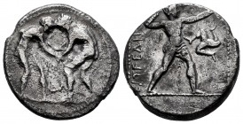 Pamphylia. Aspendos. Stater. 300-250 BC. (Cy-2911). (Gc-5398). Anv.: Two wrestlers grappling; AN between. Rev.: EΣTFEΔII(YΣ), slinger in throwing stan...