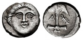 Thrace. Apollonia Pontika. Diobol. 375-335 BC. (SNG Stancomb-43). Anv.: Head of Medusa facing. Rev.: Anchor, flukes upwards; crayfish to right, A to l...