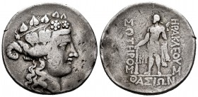 Thrace. Thasos. Tetradrachm. 148 BC. (Gc-1759). (Cy-1530). Anv.: Dionysus head right with ivy crown. Rev.: Hercules standing left, with club and lion ...