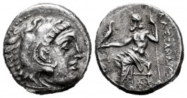 "Kingdom of Macedon. Alexander III, ""The Great"". Drachm. 336-323 BC. (Müller-759). Anv.: Heracles' head to right coated with lion skin. Rev.: Zeus seat..."