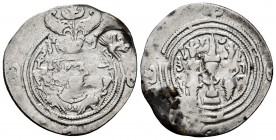 Sassanid Empire. Khusru II. Drachm. RY 11. GD (Jayy). (Göbl-II/2). Ag. 3,50 g. Simurgh countermark right, type Cm 10 (Magnificent). Choice F/Almost VF...